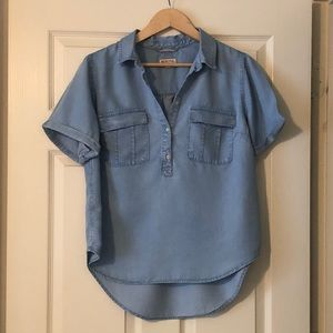 Women's shirt sleeve denim shirt